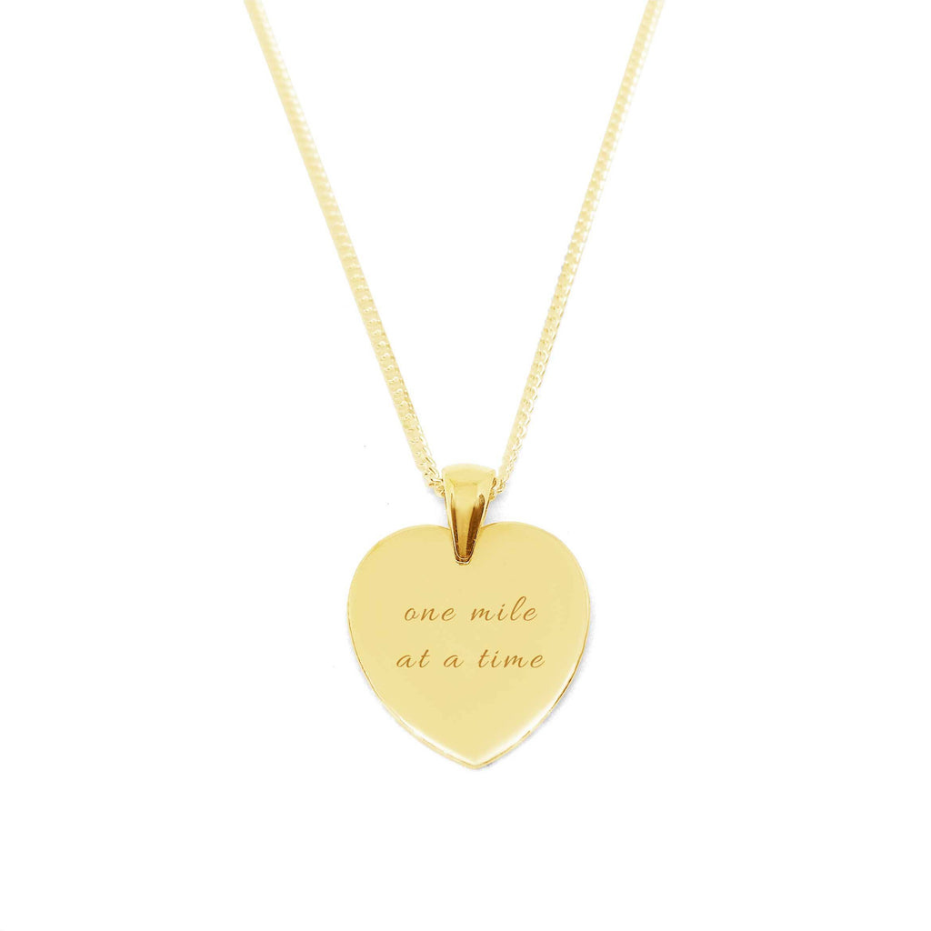"""One Mile At A Time"" Heart Medallion Necklace with Zirconia Stone"
