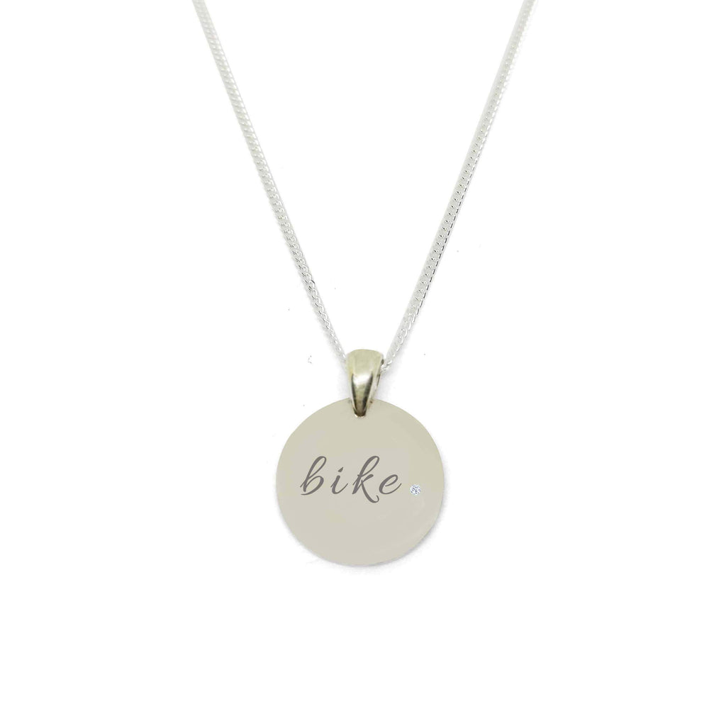 """Bike"" Circle Medallion Necklace with Zirconia Stone"