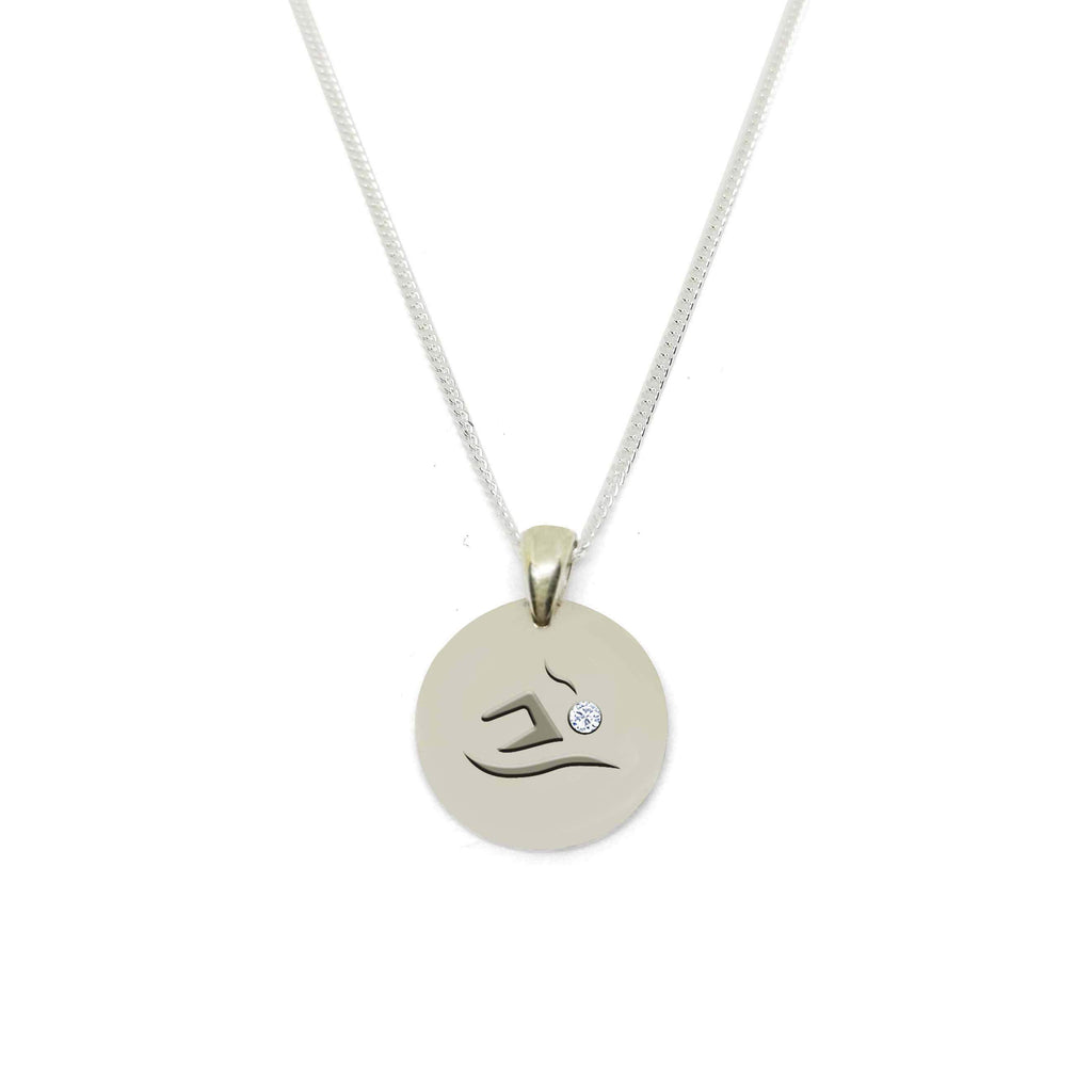 Swimmer Circle Medallion Necklace with Zirconia Stone