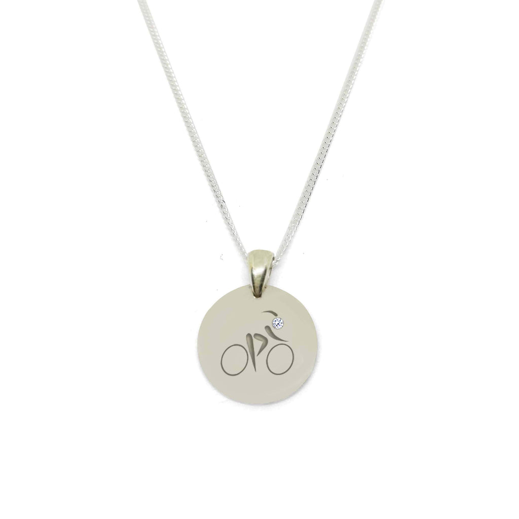 Cyclist Circle Medallion Necklace with Zirconia Stone