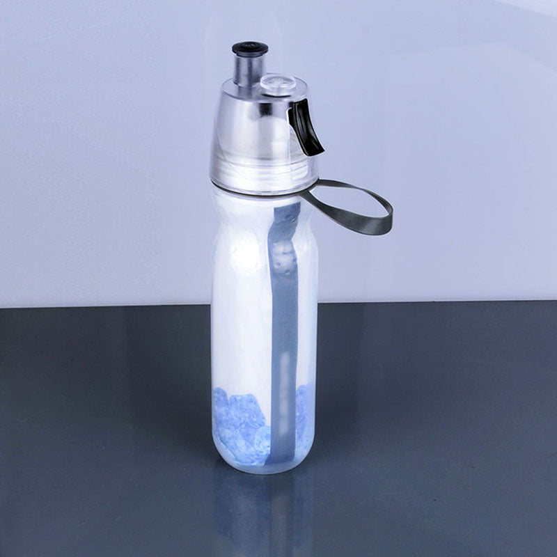 Outdoor Cycling 500ml Double Layer Mist Spray Water Bottle