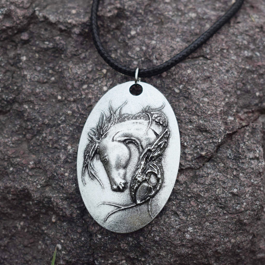 Long Haired Horse Pendant Leather Choker Necklace