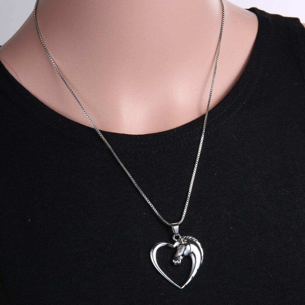 Silver Horse in Heart Pendant Necklace