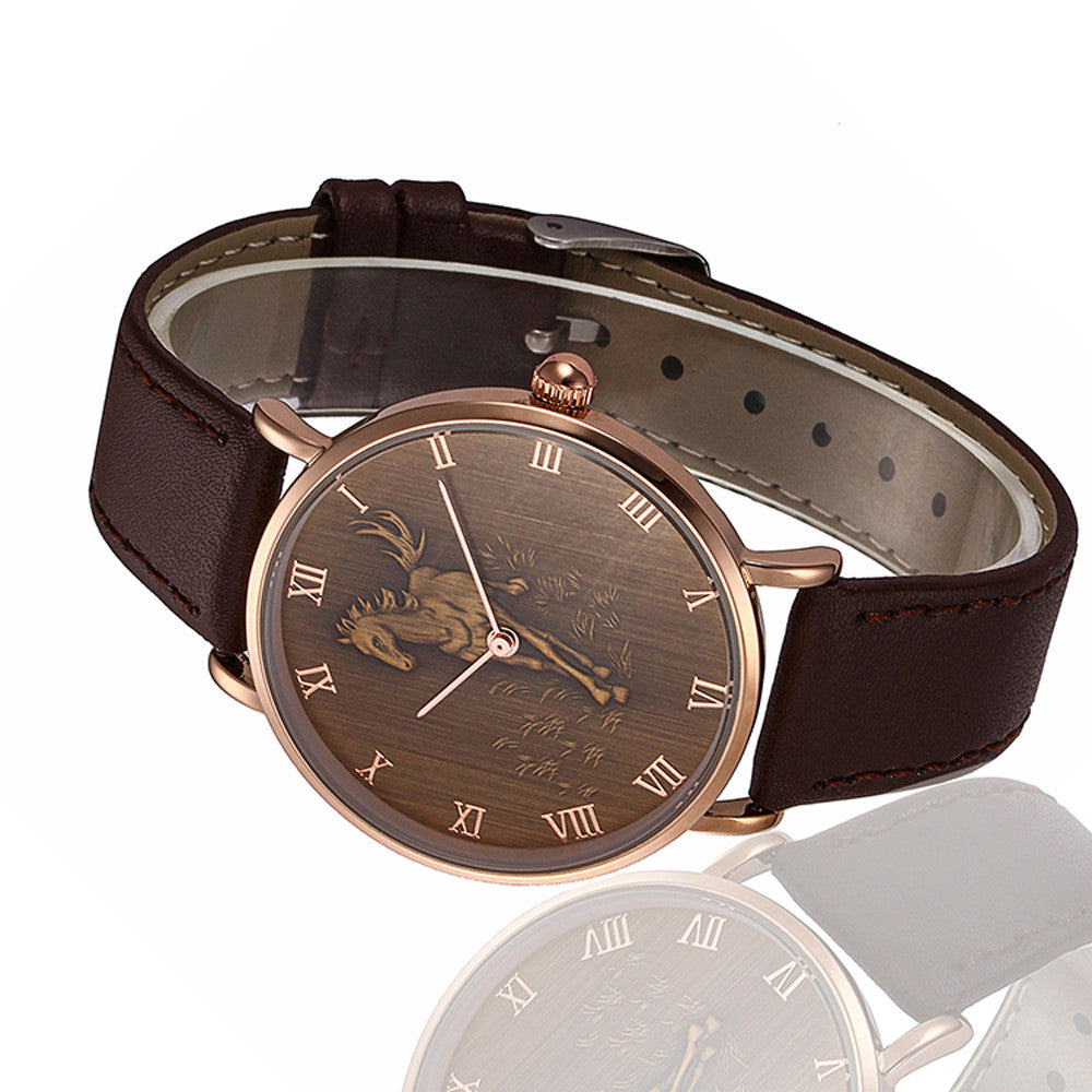 Horse Roman Numeral Leather Wristwatch