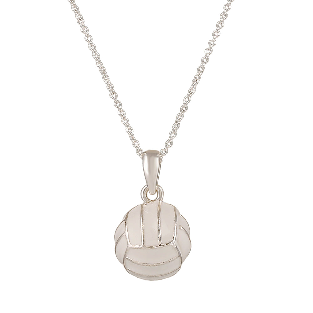 Silver Volleyball Pendant Necklace