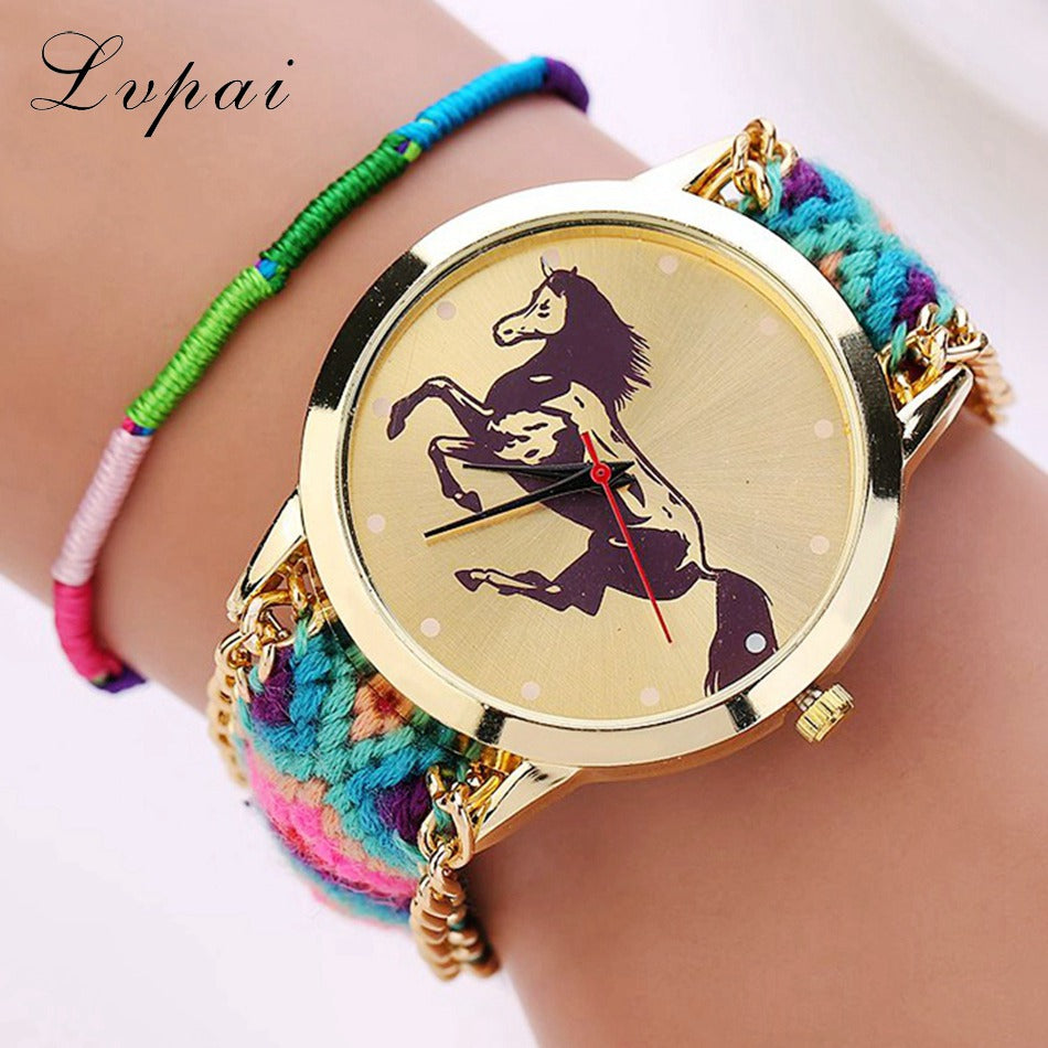 Horseback Riding Braided Sport Wristwatch