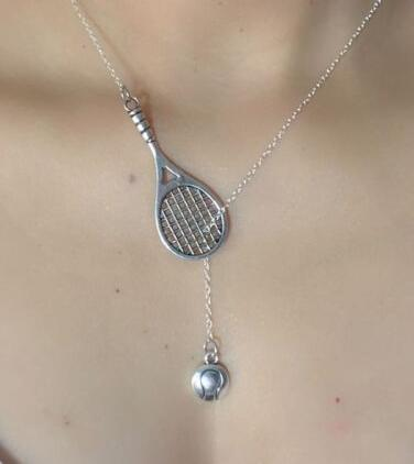 Silver Plated Tennis Racket and Ball Pendant Necklace