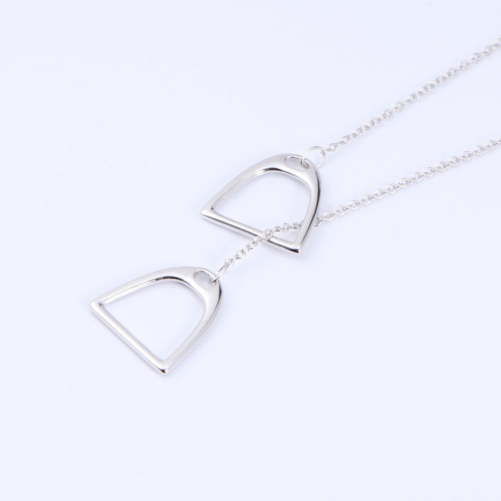 Sterling Silver Double Luck Horse Stirrup Necklace