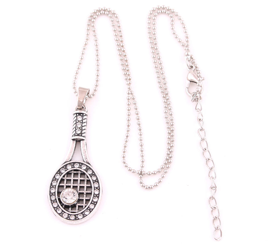 Silver Tennis Racket And Ball Sport Crystal Charm Pendant Necklace