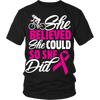 """She Believed She Could"" Breast Cancer Awareness Cycling Shirt"
