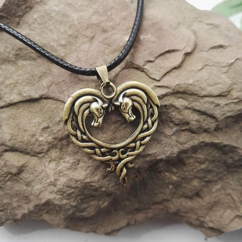 Celtic Horse Heart Bronze Pendant Necklace