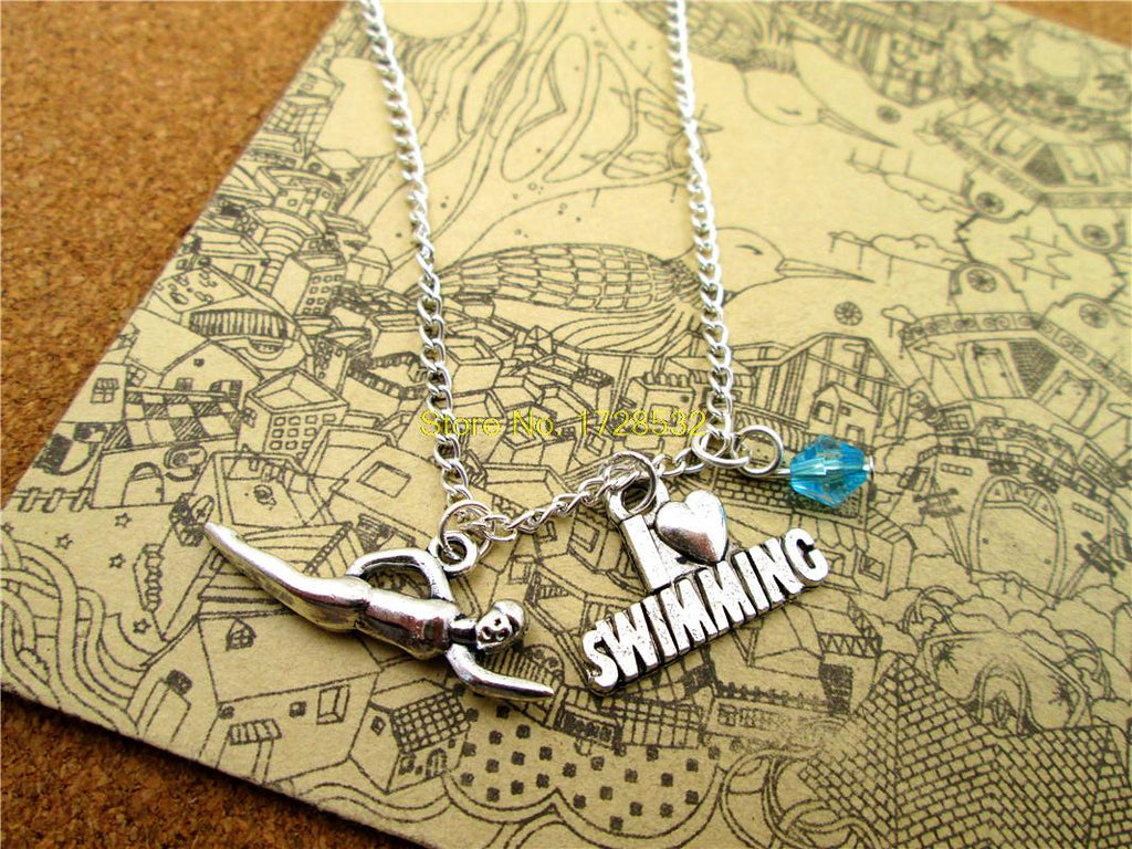 I Love Swimming Antique Silver Long Chain Necklace