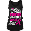 """She Believed She Could"" Breast Cancer Awareness Swimmer Shirt"