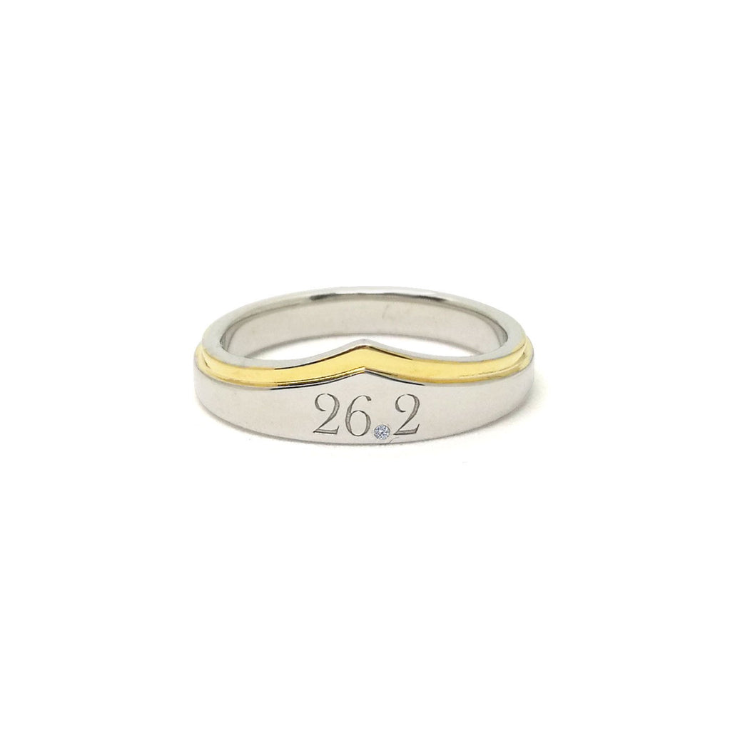 26.2 Marathon Wonder Woman Silver And Gold Zirconia Ring