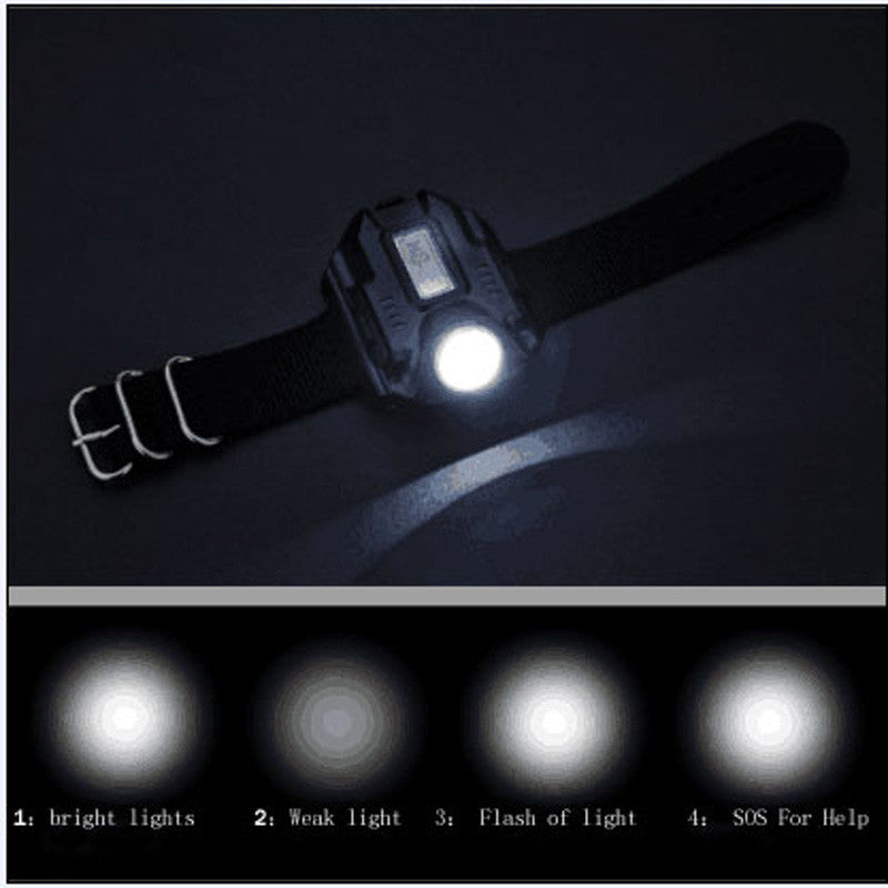 USB Rechargeable LED Wrist Watch Flashlight Torch