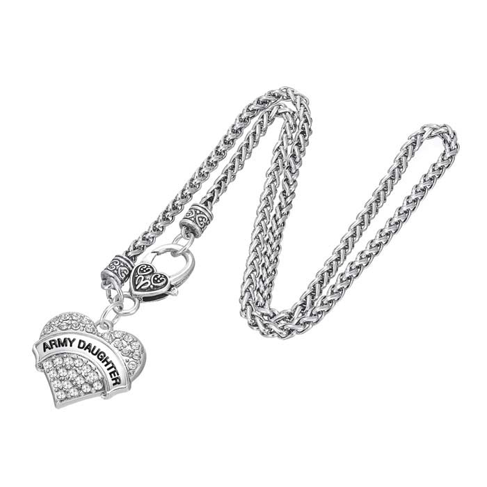 Army Crystal Heart Pendant Necklaces