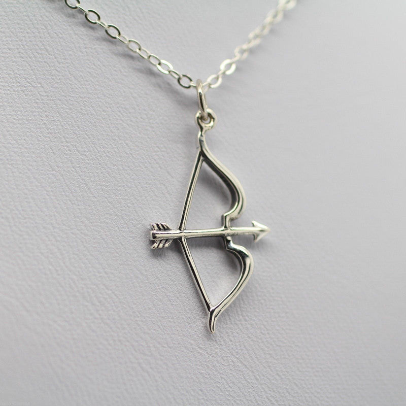 Silver Plated Bow Arrow Pendant Necklace