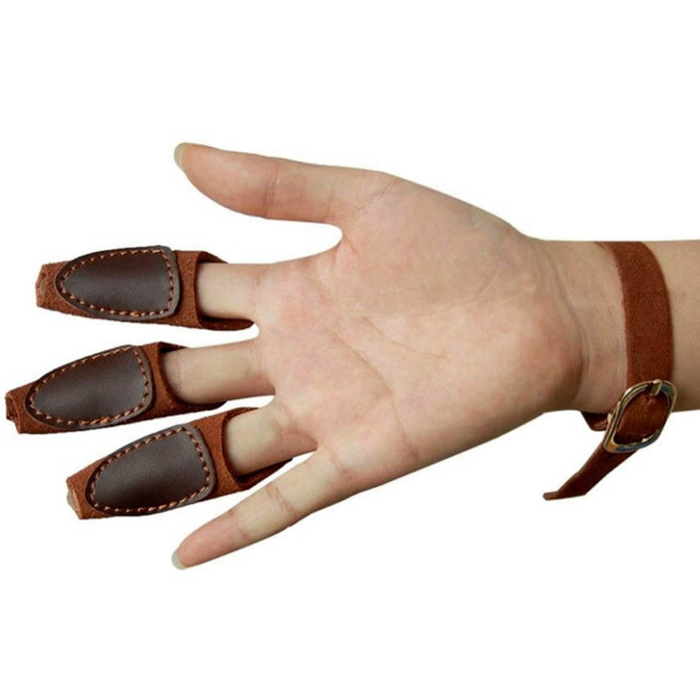 Archery Target Shooting Protective 3-Finger Leather Guard