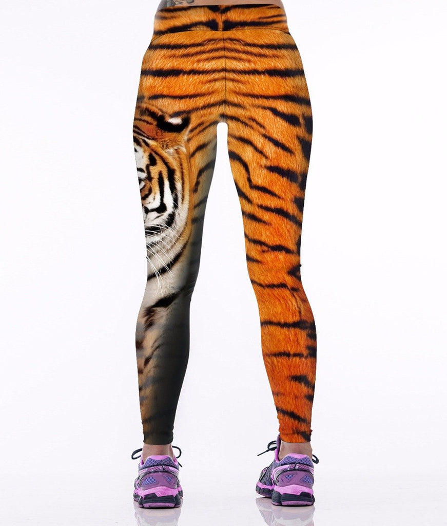 Women's 3D Tiger Striped Running Tights