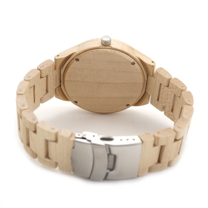 Buck Silhouette Wristwatch With Wooden Link Strap