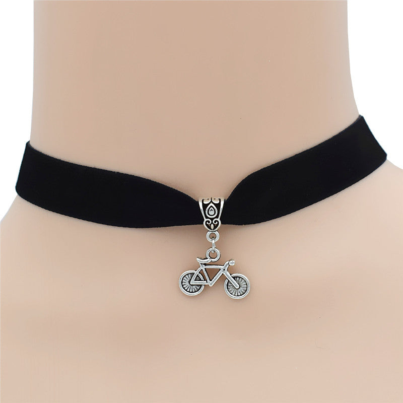 Bicycle Charm Pendant Choker Necklace