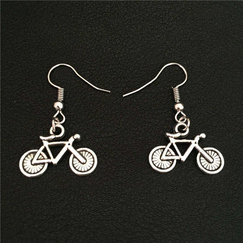 Silver Bicycle Dangle Earrings