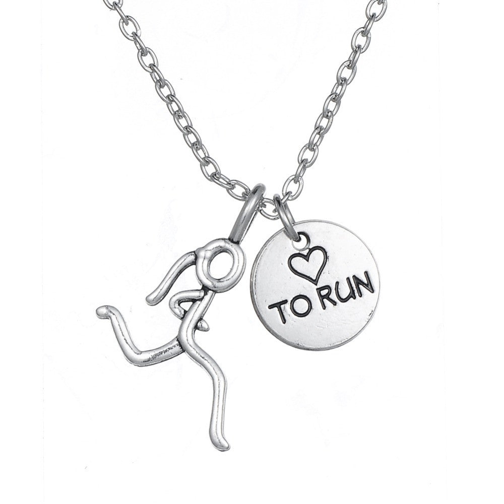 """Love to Run"" Runner Girl Necklace"