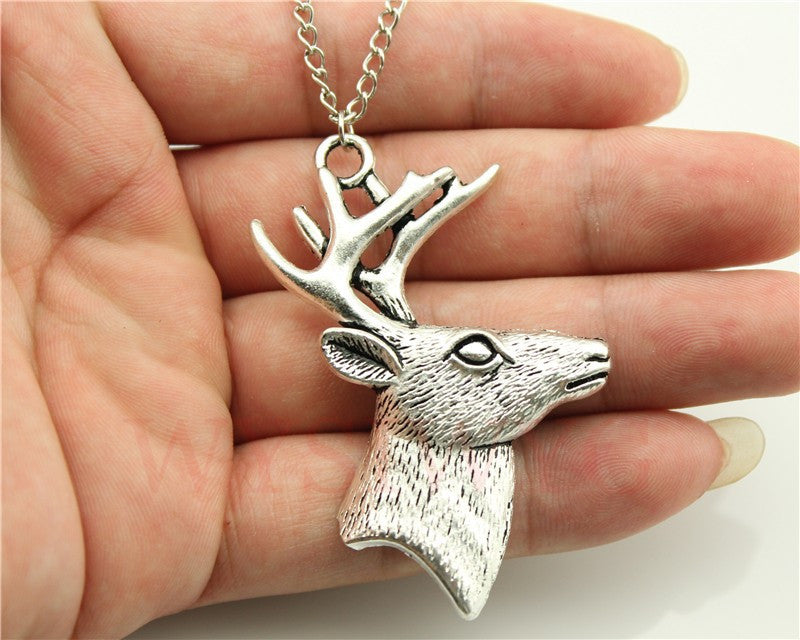 Antique Deer Antlers Pendant Necklace