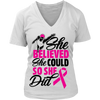 """She Believed She Could"" Breast Cancer Awareness Swimmer Shirt (Black Print)"