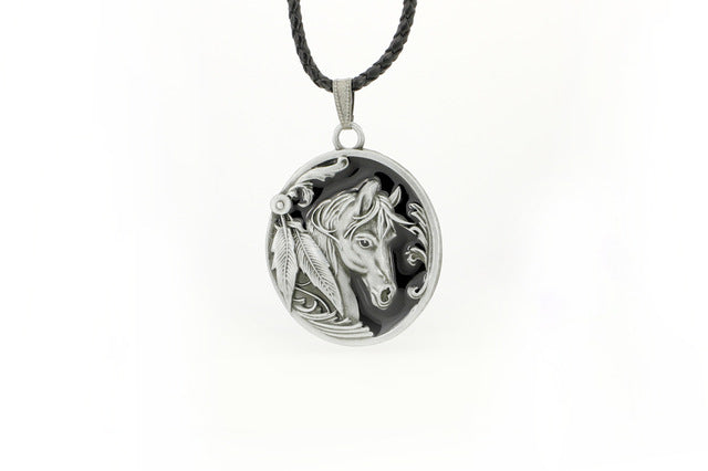 Black Western Horse Oval Charm Pendant Necklace
