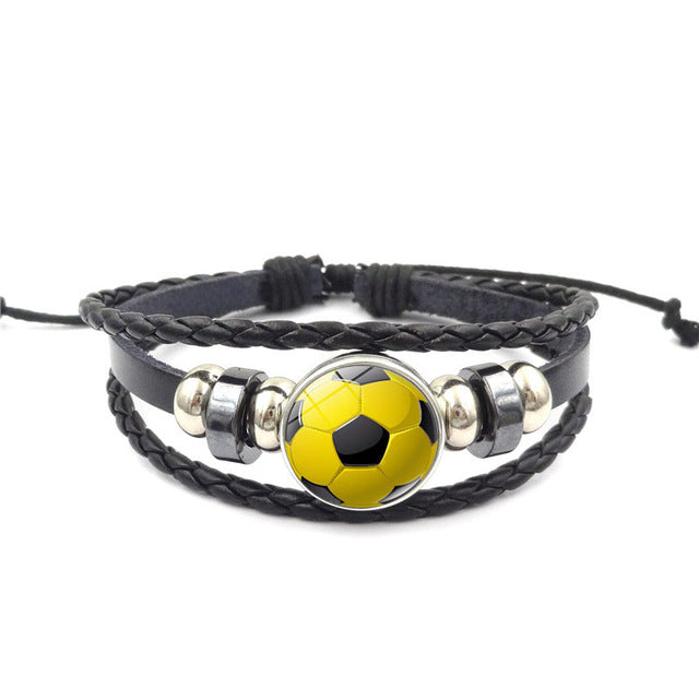 Black Leather Soccer Ball Buckle Bracelet