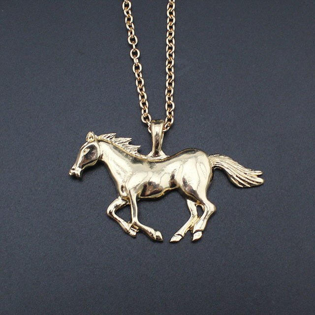 Long Chain Running Horse Pendant Necklace