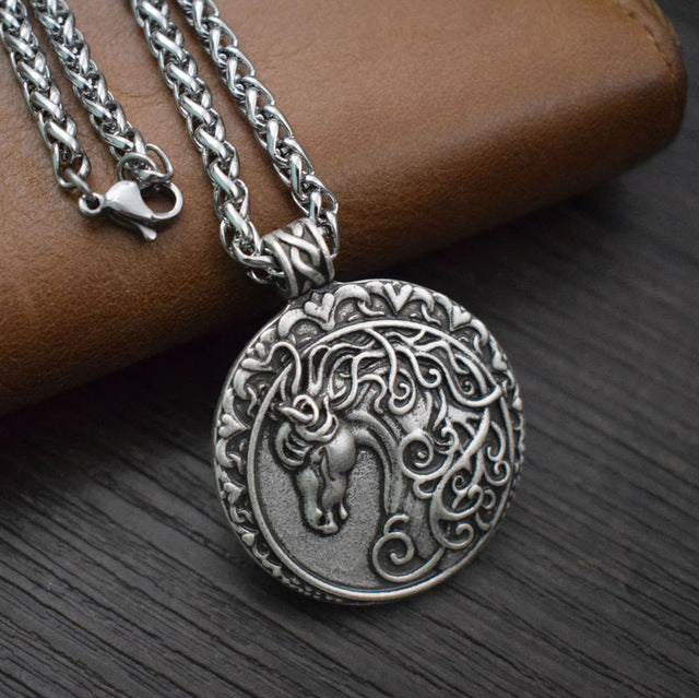 Celtic Horse Head Pendant Necklace