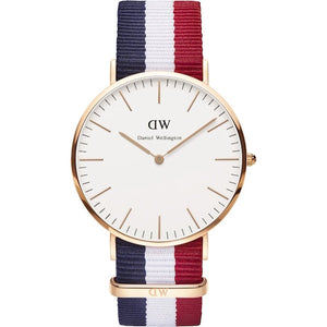 red, blue and white strapped Daniel Wellington classic Cambridge watch