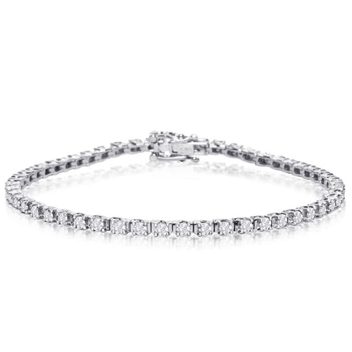 10k white gold 2 carat diamond tennis bracelet