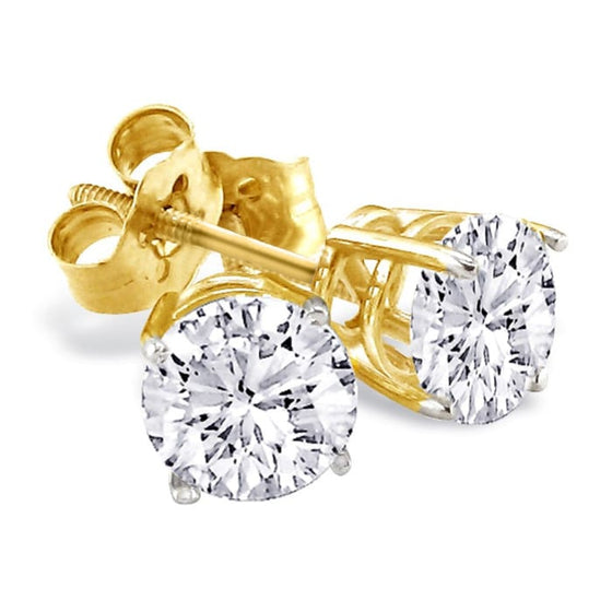 Diamond stud earrings in 14k yellow gold
