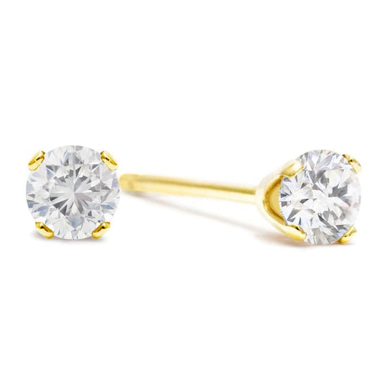 1ct diamond stud earrings in yellow gold