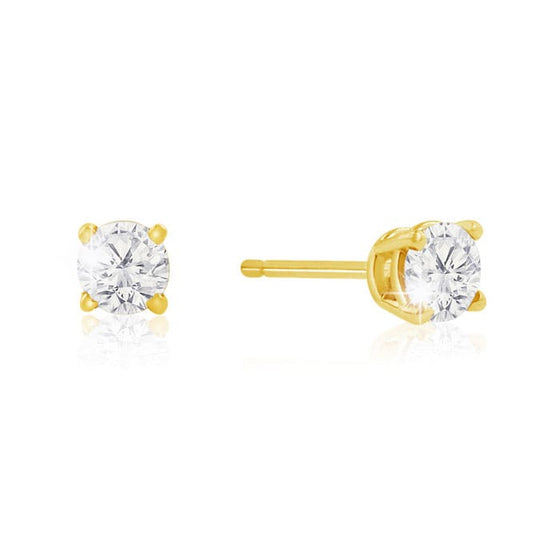 Colourless diamond earrings in 14k yellow gold