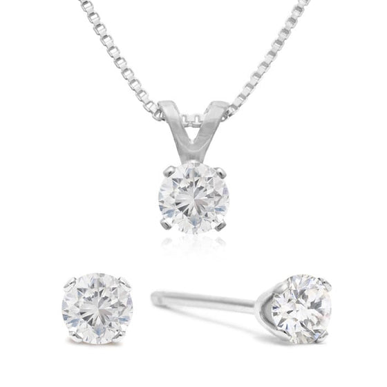 Diamond stud earrings and necklace