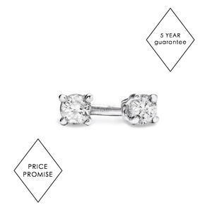 Diamond Stud Earrings in 9ct White Gold / Rose Gold