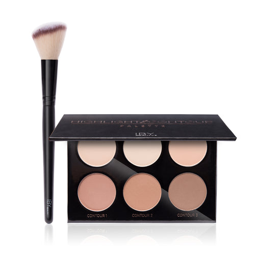 Contour and Conquer Kit Highlight and Contour Palette with Angled Blush Brush