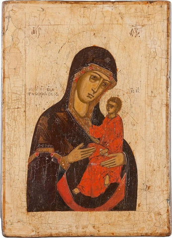 Russian Icon Showing the Mother of God of Tikhvin