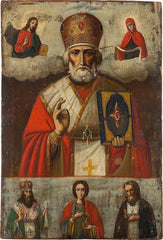 Large Russian Icon Showing St. Nicholas The Miracle-Worker