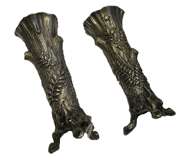 Pair of 1908-1917 Russian Silver Bud Vases, Khlebnikov, Moscow