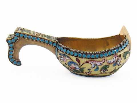 Small Silver-Gilt and Cloisonné Enamel Kovsh