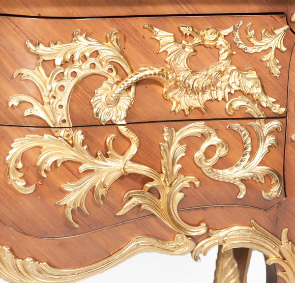 Louis XV Design Walnut Bombé Commode