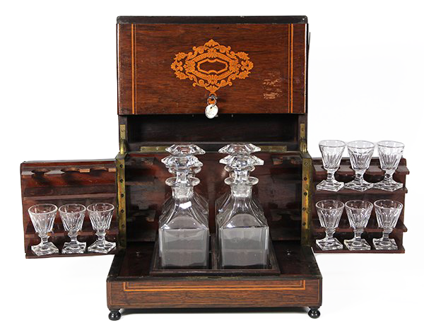 Late 19th Century French Napoleon III Marquetry Decanters