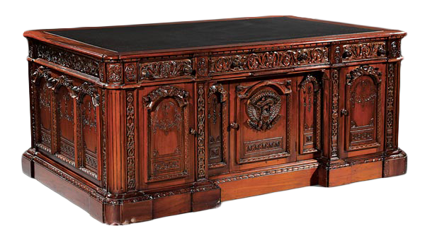 Highly Carved Mahogany Executive Pedestal Desk