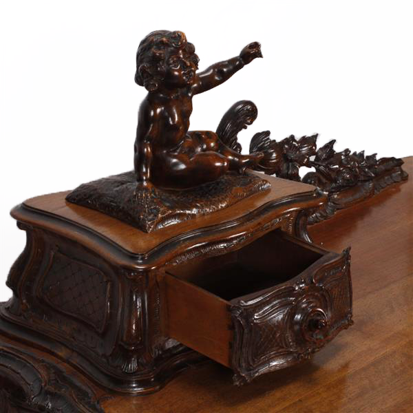 19th Century Italian Renaissance Revival Carved Walnut Writing Desk