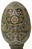 Russian 84 Enamel Silver Egg with Stand